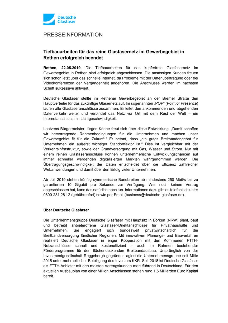 Tiefbauarbeiten für das reine Glasfasernetz im Gewerbegebiet in Rethen erfolgreich beendet