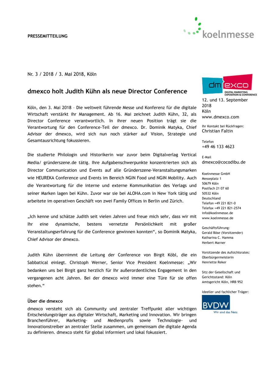 dmexco holt Judith Kühn als neue Director Conference
