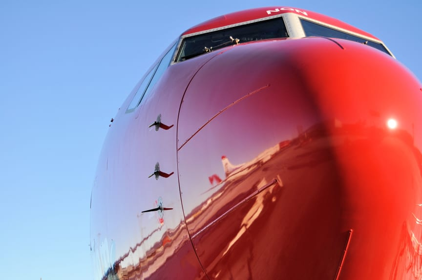 Close up af Norwegian-fly LN-NON