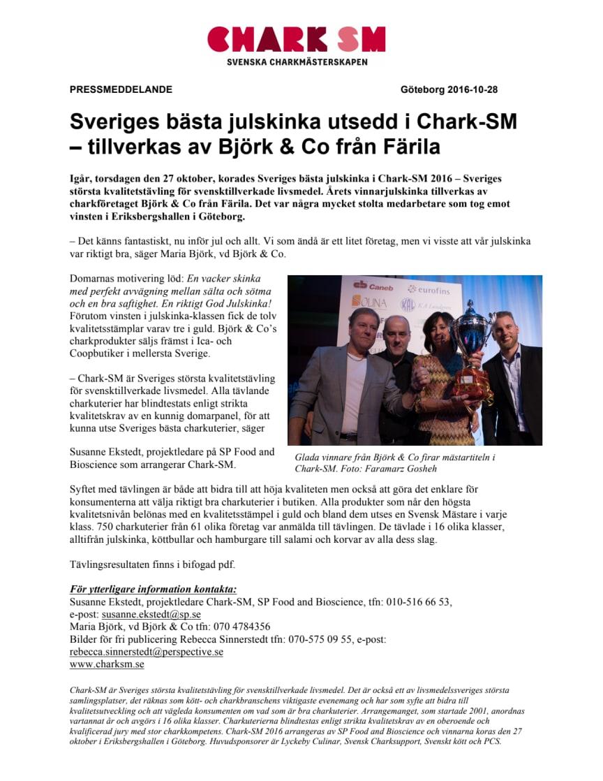 Sveriges bästa julskinka utsedd i Chark-SM – tillverkas av Björk & Co från Färila