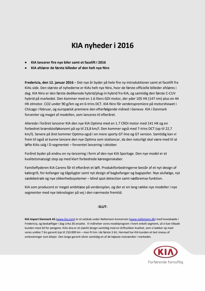 KIA Nyheder i 2016