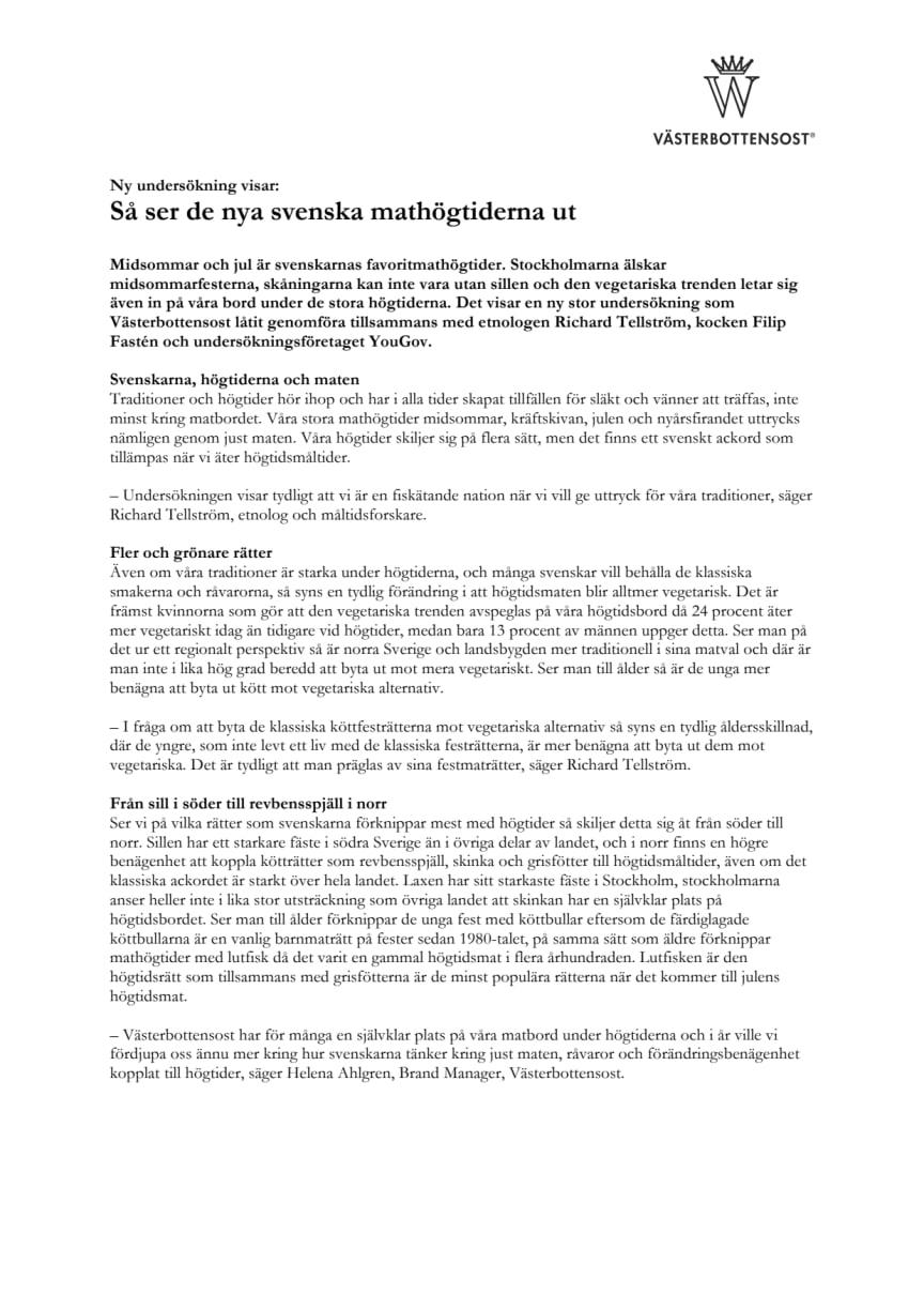Ny undersökning visar: Så ser de nya svenska mathögtiderna ut