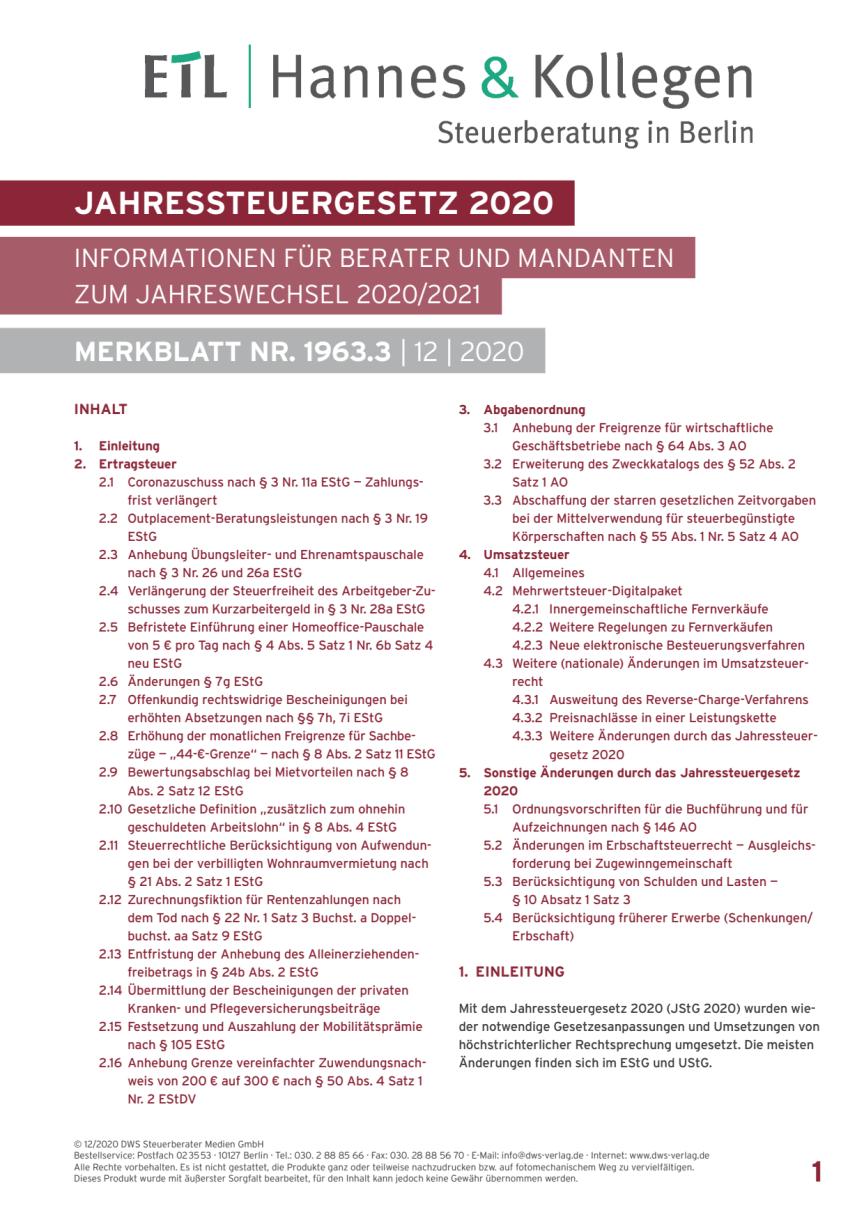 Mandanten-Informationen zum Jahreswechsel  2020/2021 zum Jahreswechsel