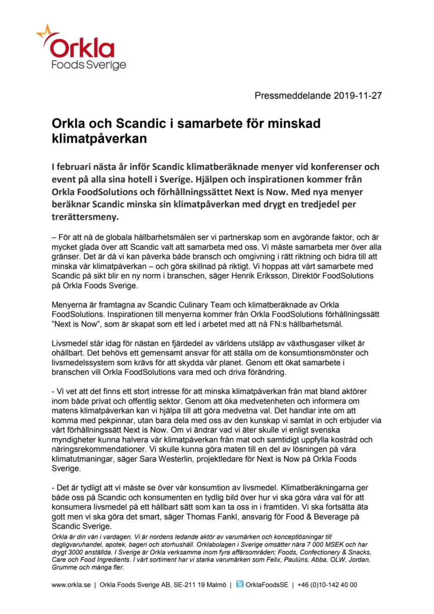 Orkla och Scandic i samarbete för minskad klimatpåverkan