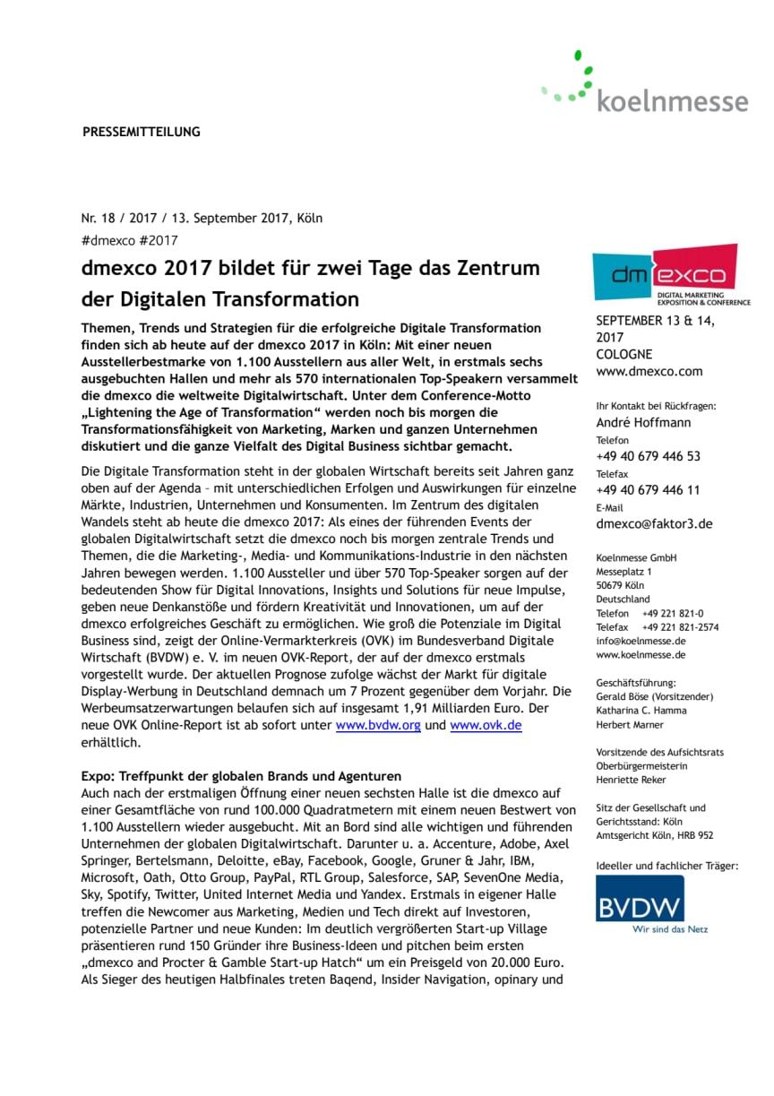 dmexco 2017 bildet für zwei Tage das Zentrum der Digitalen Transformation