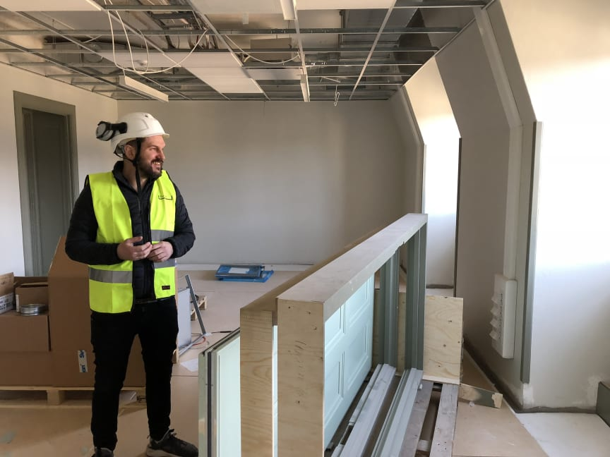 Fredrik Blid, projektledare Forsen. Här på Anna Whitlocks gymnasium under byggtiden.