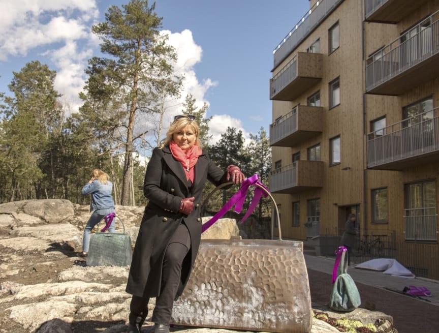 Susanna Arwin vid Väskberget i Hammarbyhöjden