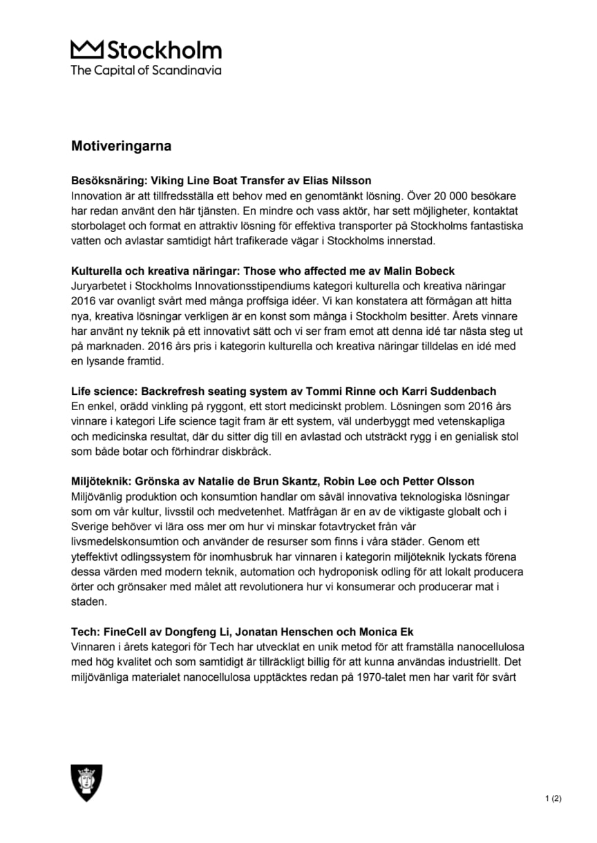 Vinnare av Stockholms Innovationsstipendium 2016 - Motiveringarna