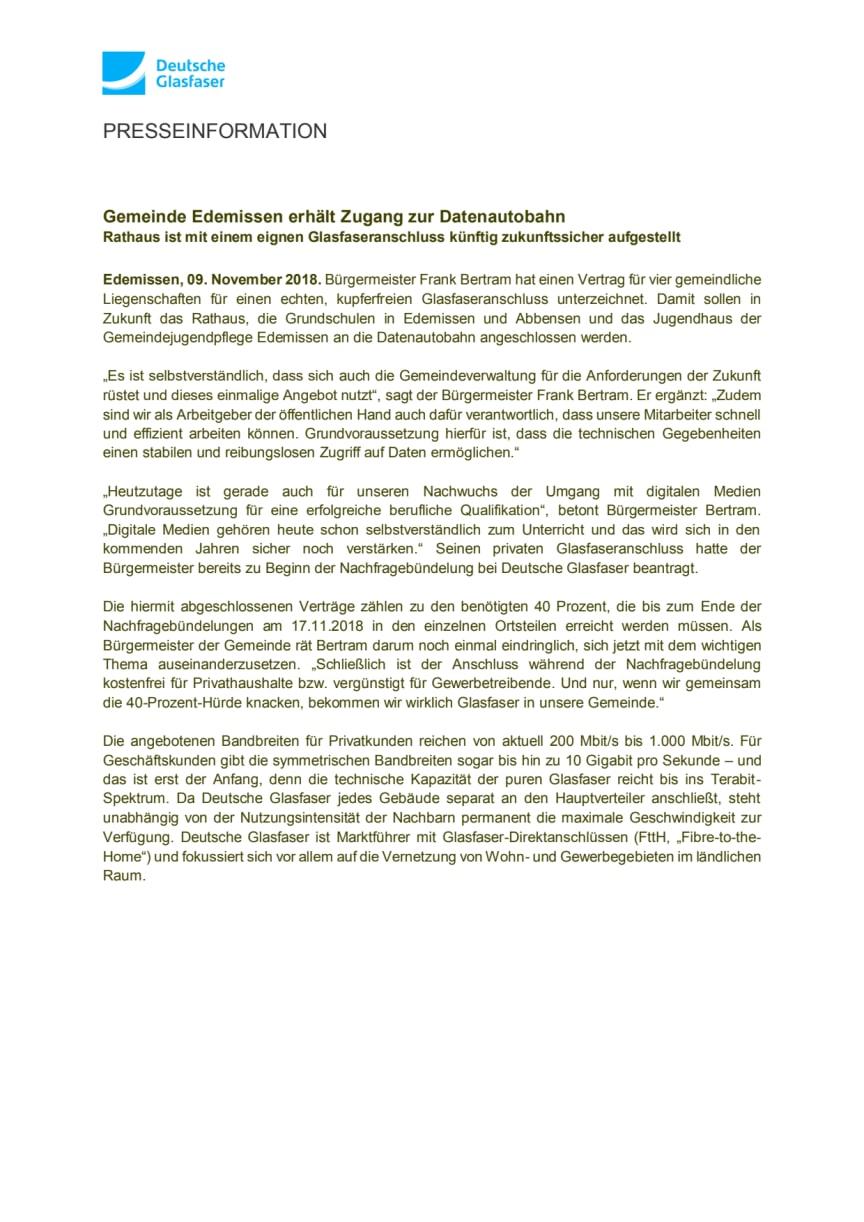Gemeinde Edemissen erhält Zugang zur Datenautobahn