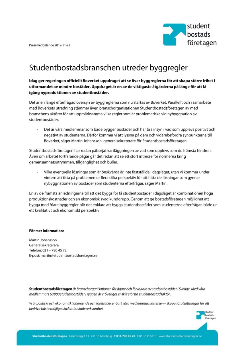 Studentbostadsbranschen utreder byggregler
