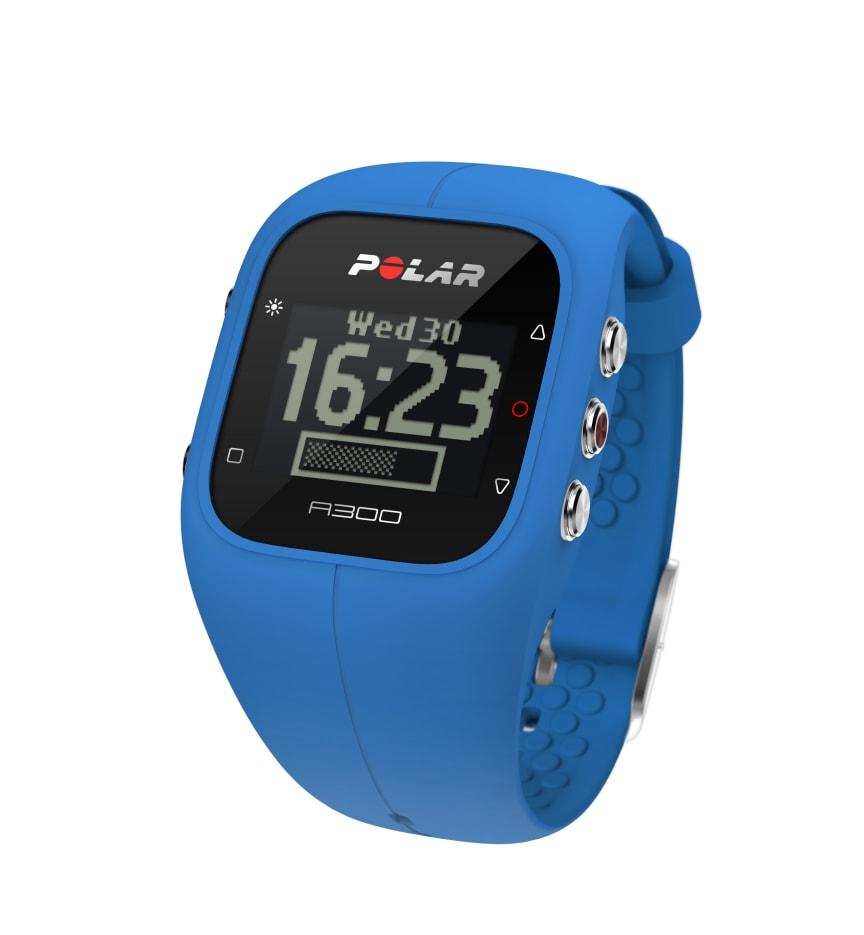 A300 sininen, kello ja aktiivisuuspalkki