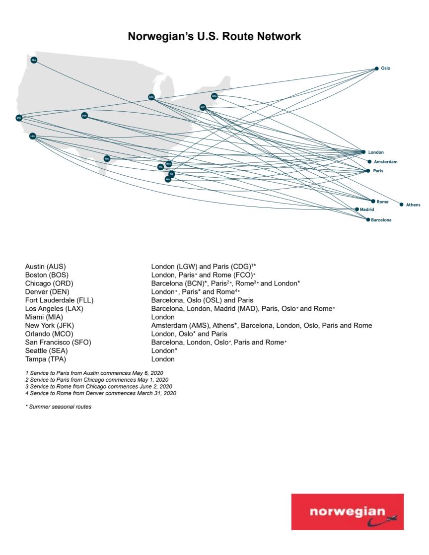 Norwegian's U.S. route network