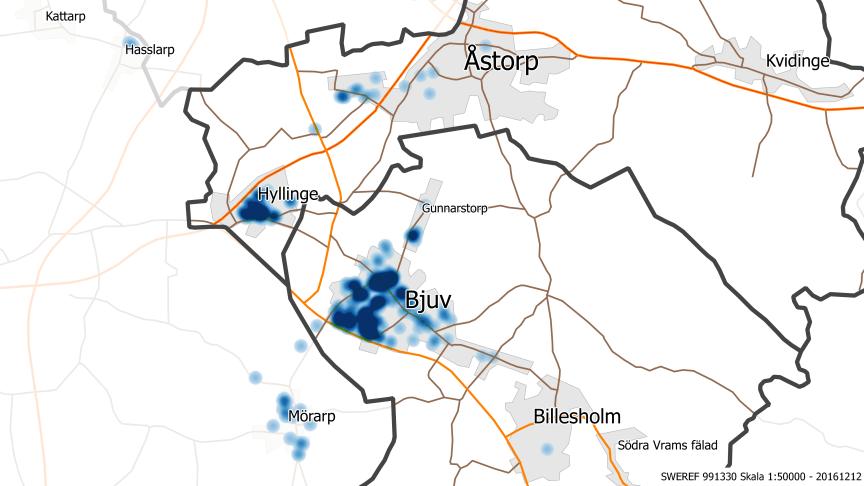 Anmälningar om översvämningar som har kommit till NSVA (visas i blått).