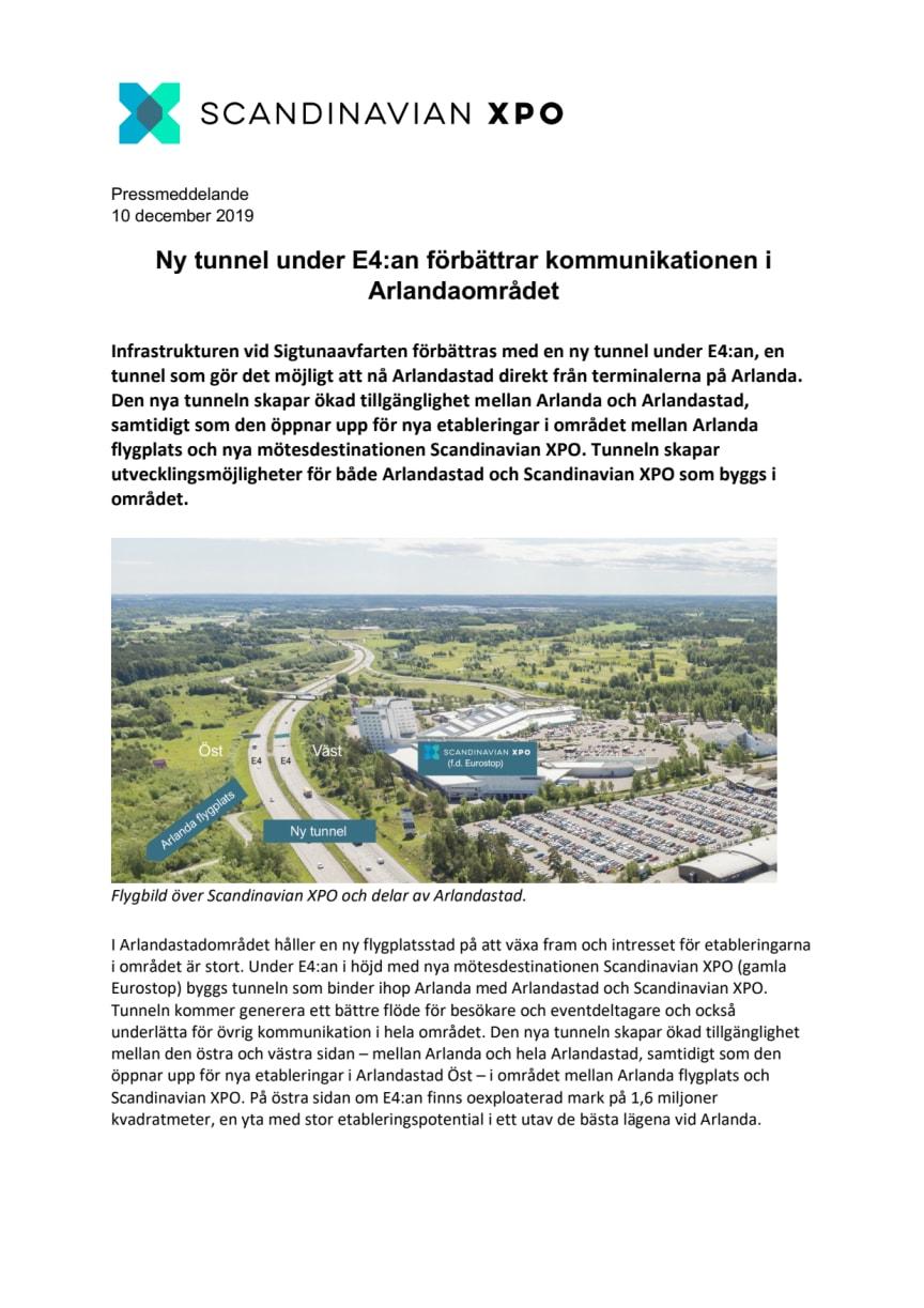 Ny tunnel under E4:an förbättrar kommunikationen i Arlandaområdet