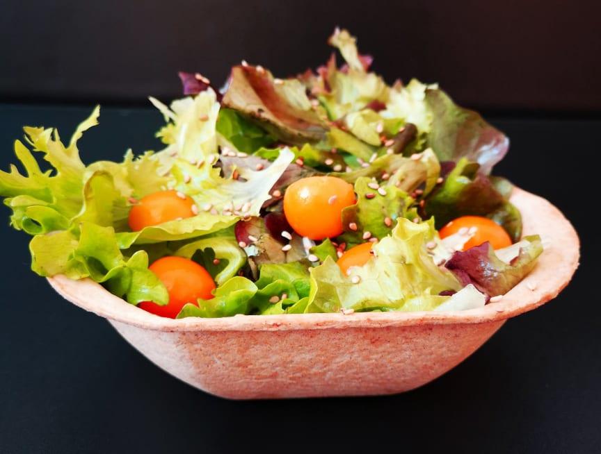 Füllett als bio-vegane essbare Salatschale