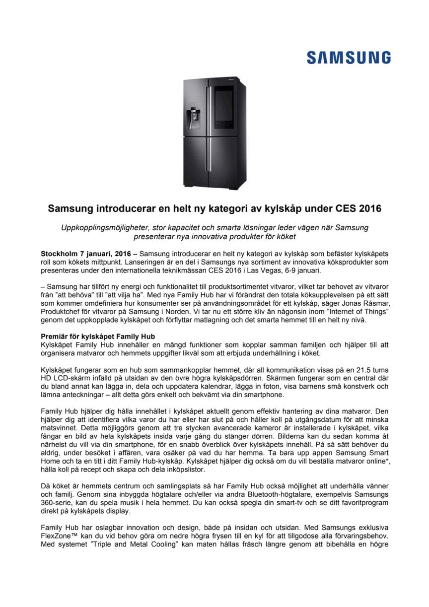 Samsung introducerar en helt ny kategori av kylskåp under CES 2016
