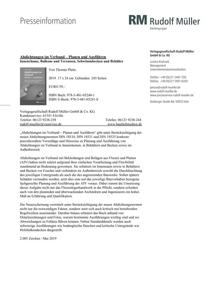 Abdichtungen im Verbund – Planen und Ausführen