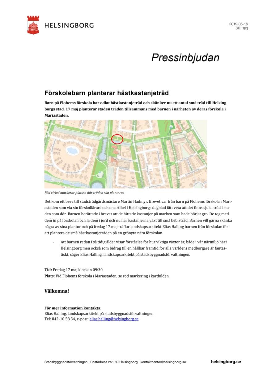 Pressinbjudan: Förskolebarn planterar hästkastanjeträd