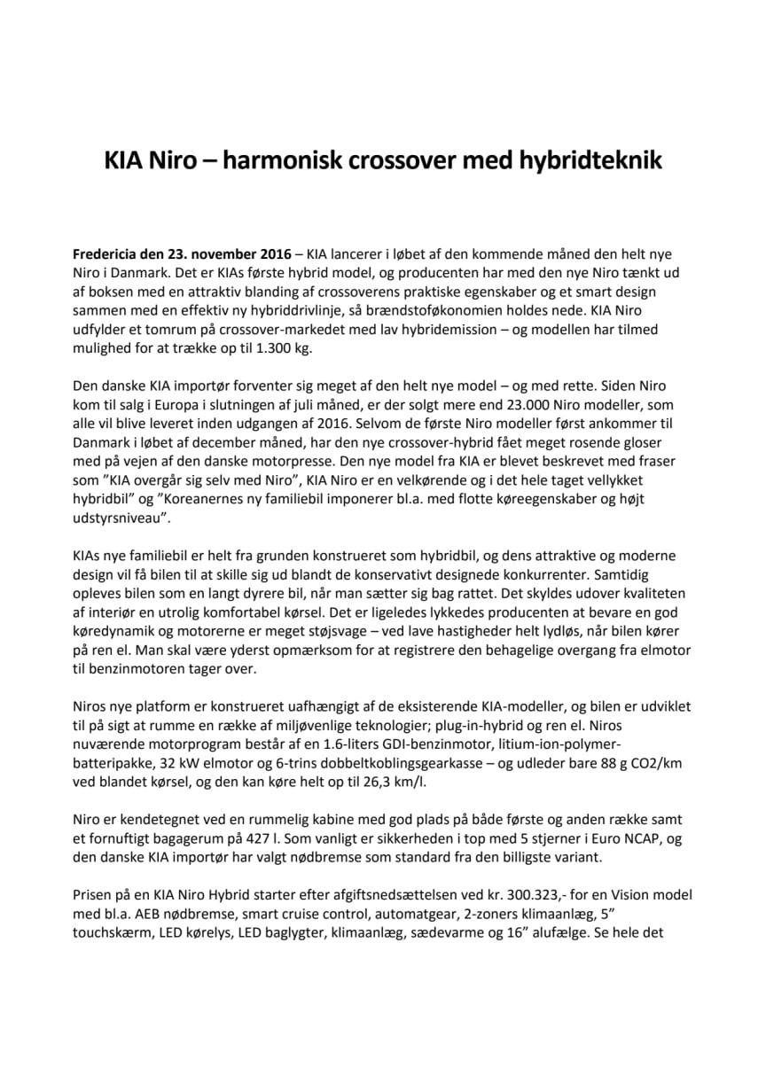 KIA Niro – harmonisk crossover med hybridteknik