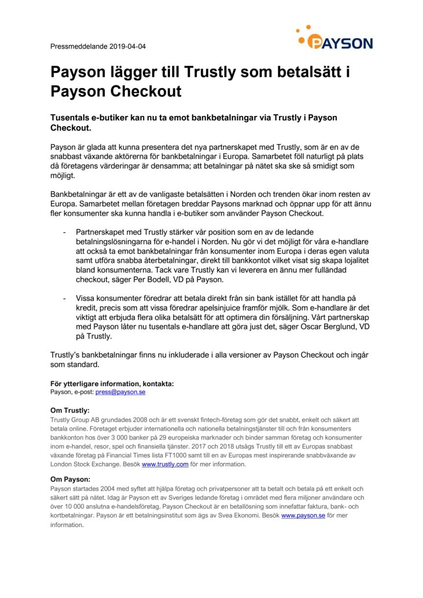Payson lägger till Trustly som betalsätt i Payson Checkout