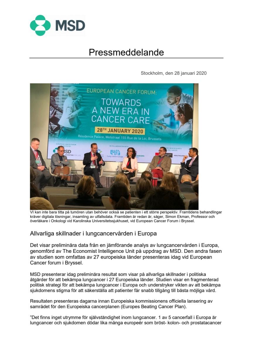 Allvarliga skillnader i lungcancervården i Europa
