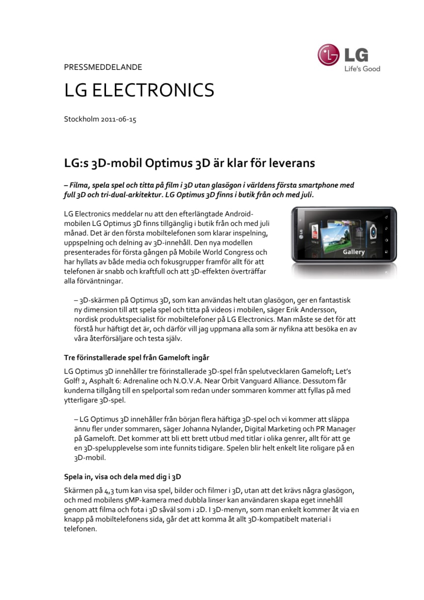LG:s 3D-mobil Optimus 3D är klar för leverans