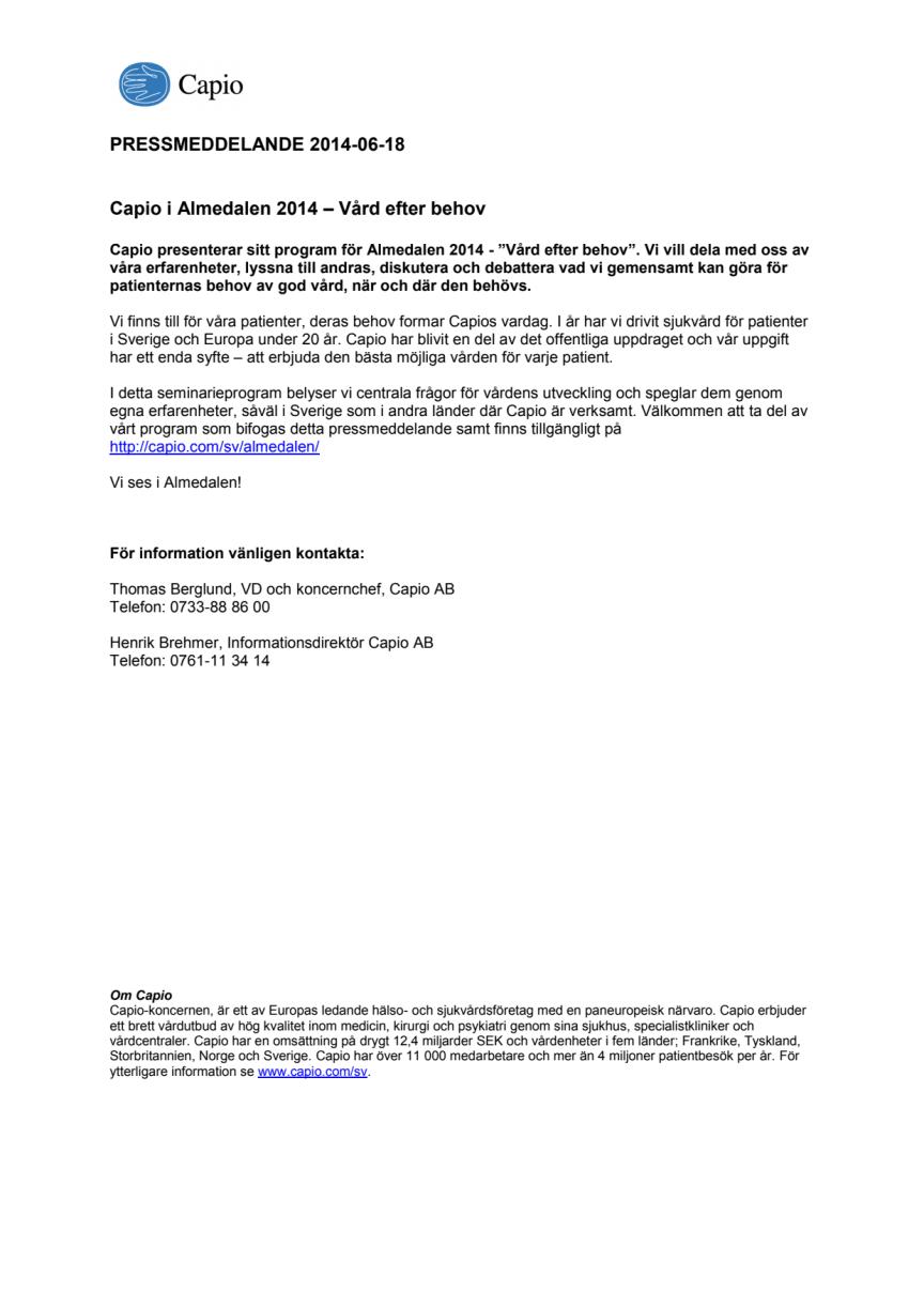 Capio i Almedalen 2014 – Vård efter behov