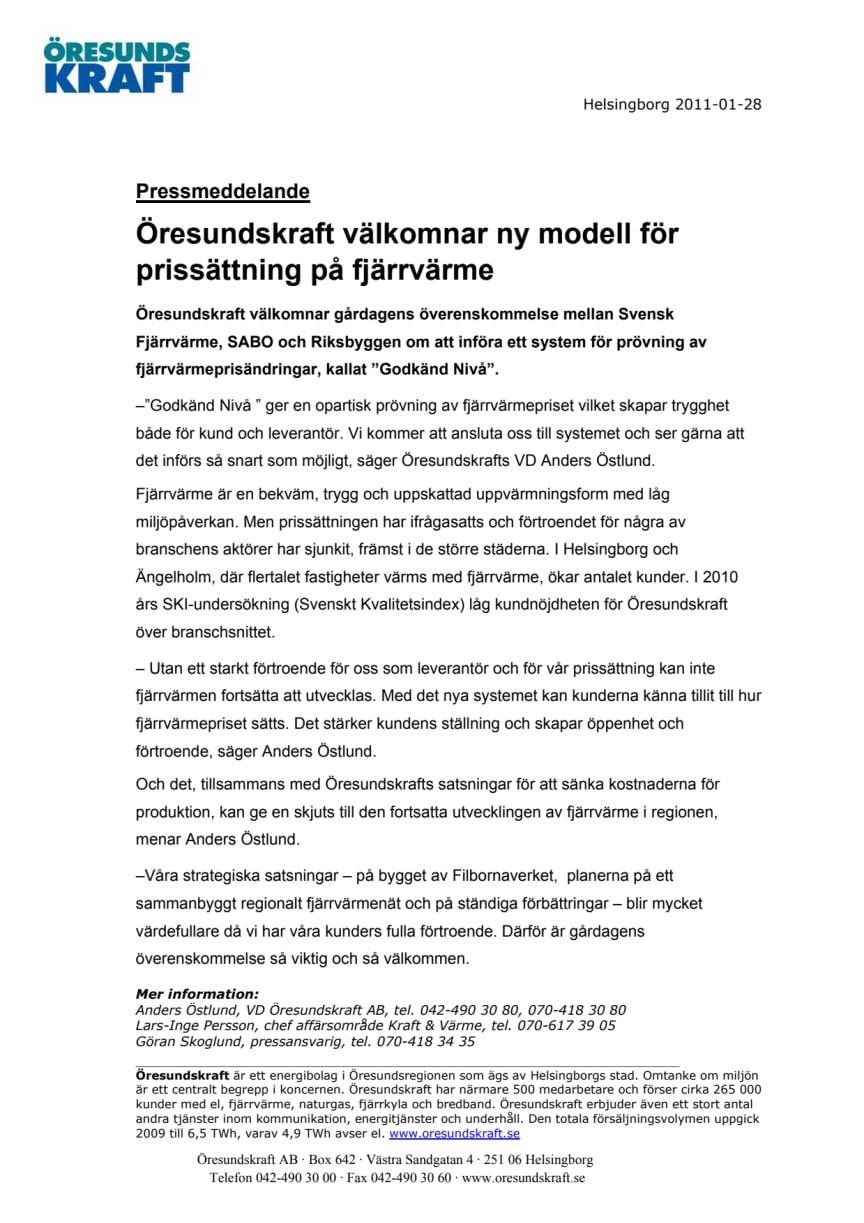 Öresundskraft välkomnar ny modell för prissättning på fjärrvärme