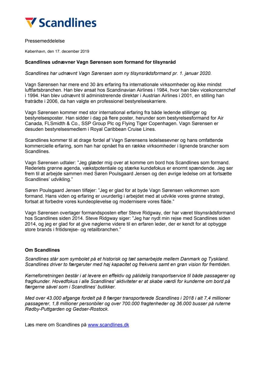 Scandlines udnævner Vagn Sørensen som formand for tilsynsråd
