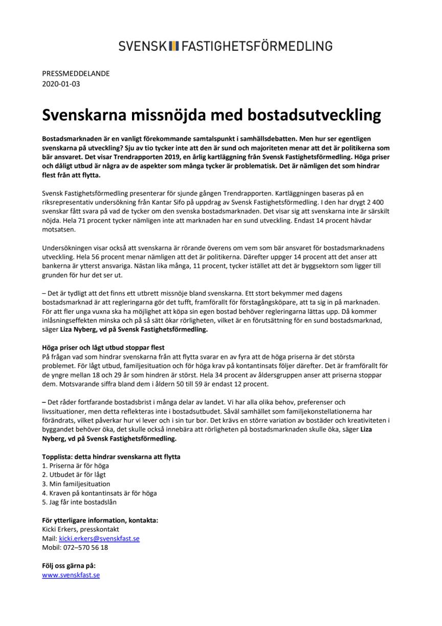 Svenskarna missnöjda med bostadsutveckling