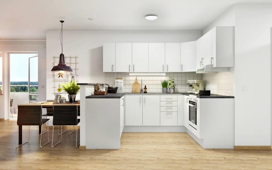 Nya bostadsrätter i Övre Lövgärdet i Angered. Öppen planlösning mellan köpa och vardagsrum