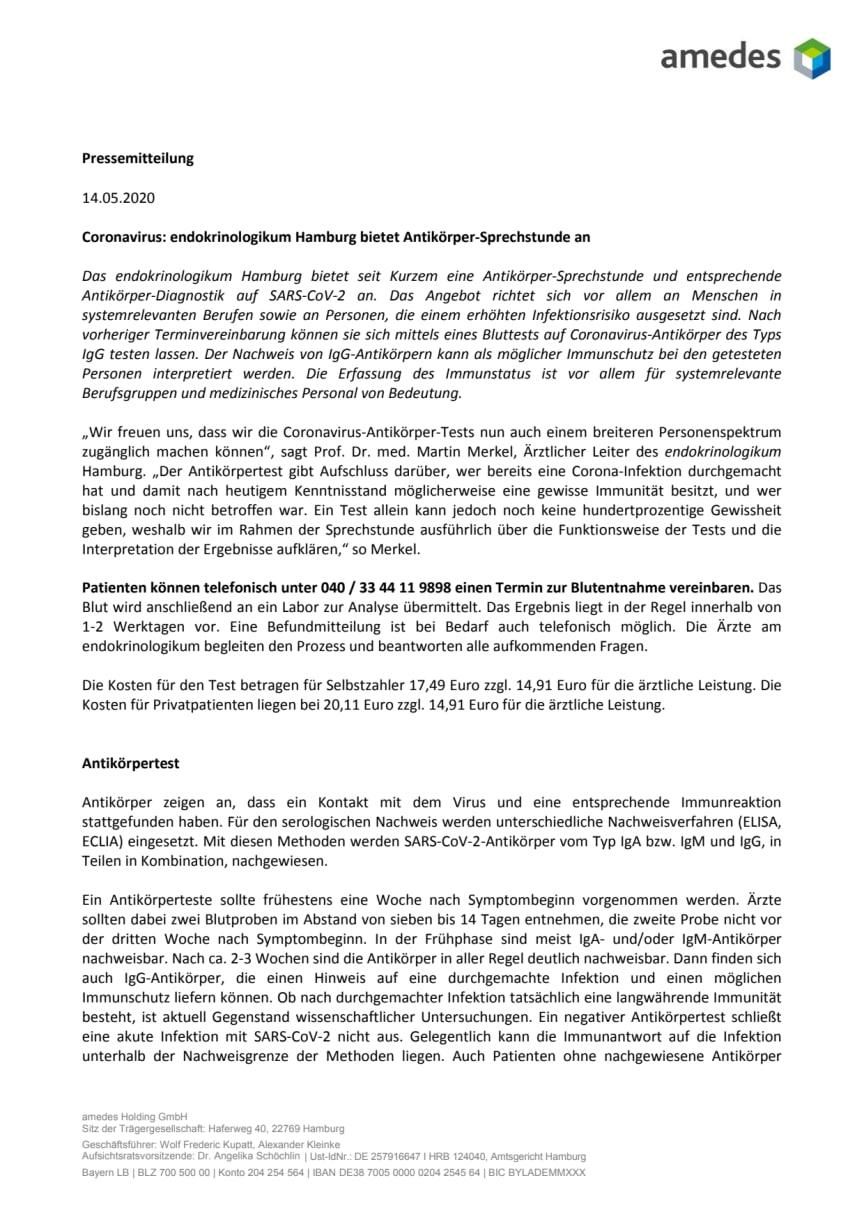 Coronavirus: endokrinologikum Hamburg bietet Antikörper-Sprechstunde an