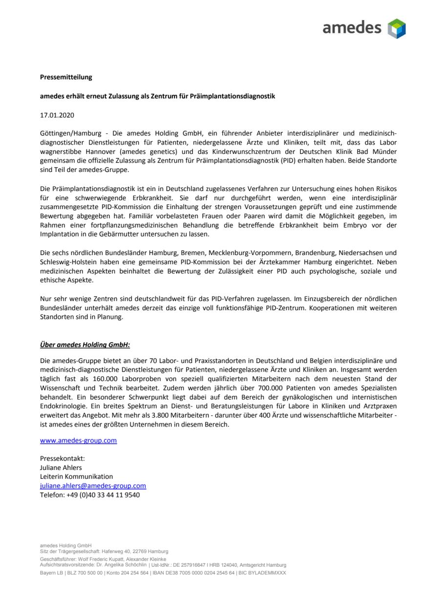 amedes erhält erneut Zulassung als Zentrum für Präimplantationsdiagnostik