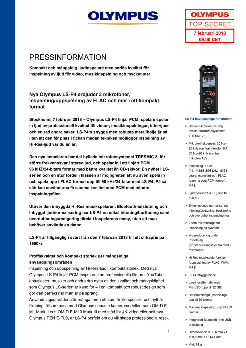 Nya Olympus LS-P4 erbjuder 3 mikrofoner, inspelning/uppspelning av FLAC m.m i ett kompakt format