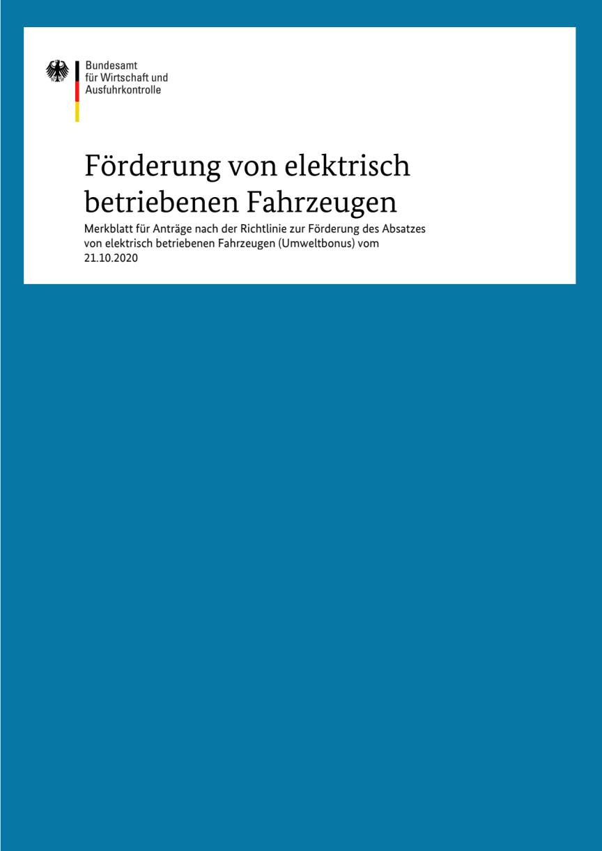 Merkblatt Förderung von elektrisch betriebenen Fahrzeugen
