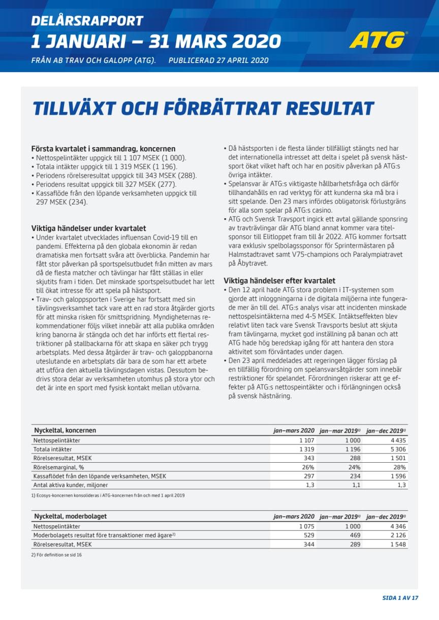 ATG Delårsrapport Q1 2020