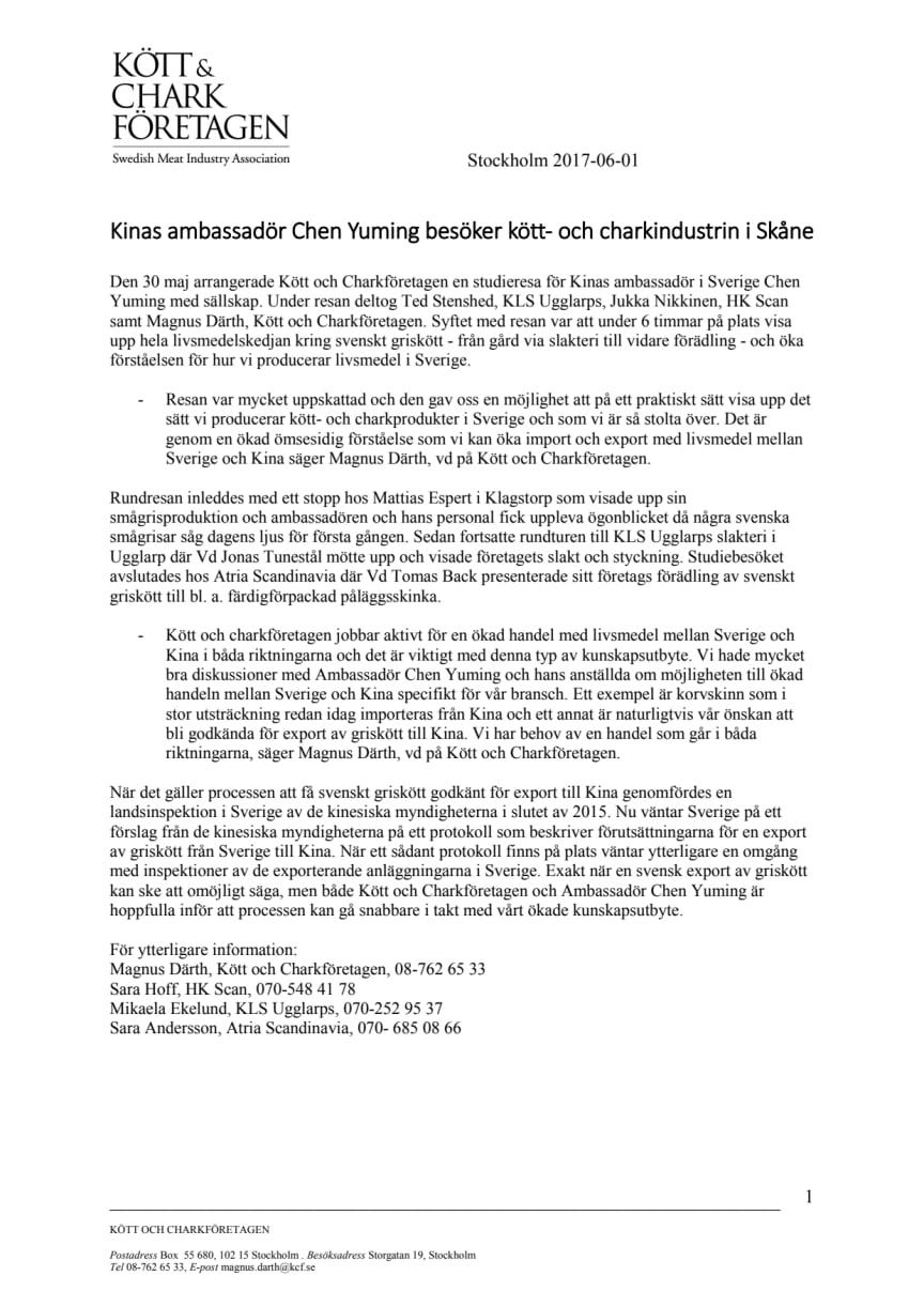 Kinas ambassadör Chen Yuming besöker kött- och charkindustrin i Skåne