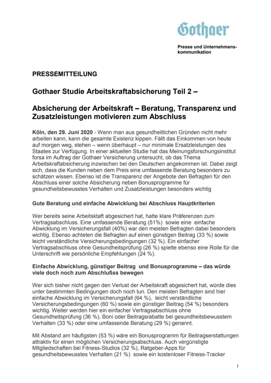 Gothaer Studie Arbeitskraftabsicherung Teil 2 – Absicherung der Arbeitskraft – Beratung, Transparenz und Zusatzleistungen motivieren zum Abschluss