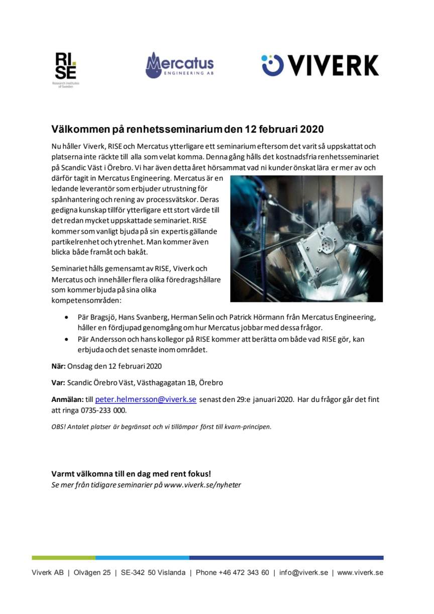 Inbjudan renhetsseminarium 12.2.2020