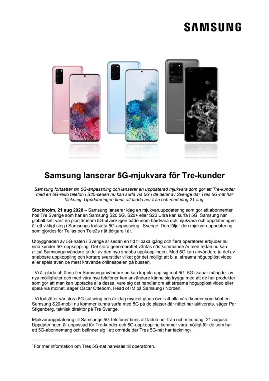 Samsung lanserar 5G-mjukvara för Tre-kunder