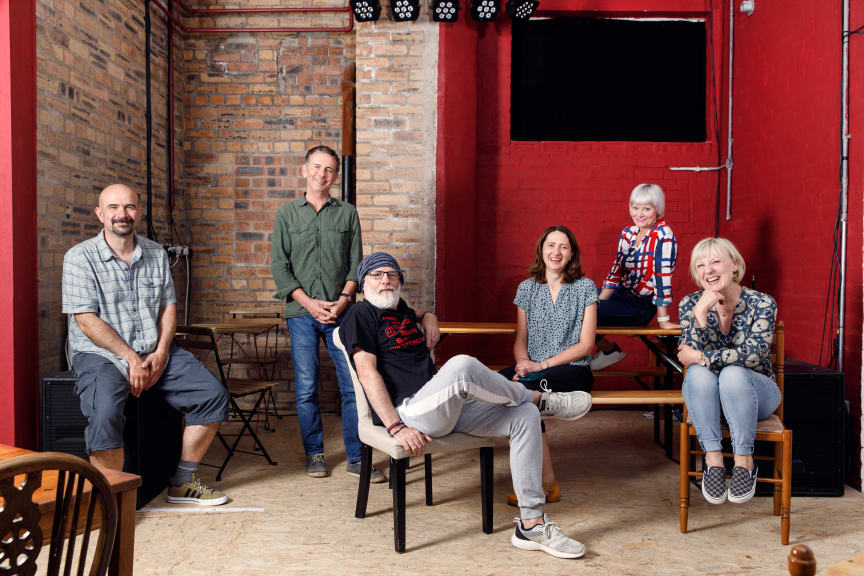 From left to right, actor Chris Connell, Associate Professor Steve Gilroy, actor Dave Johns, Dr Heike Pichler, actor Sharon Percy, and actor Jackie Lye..jpg
