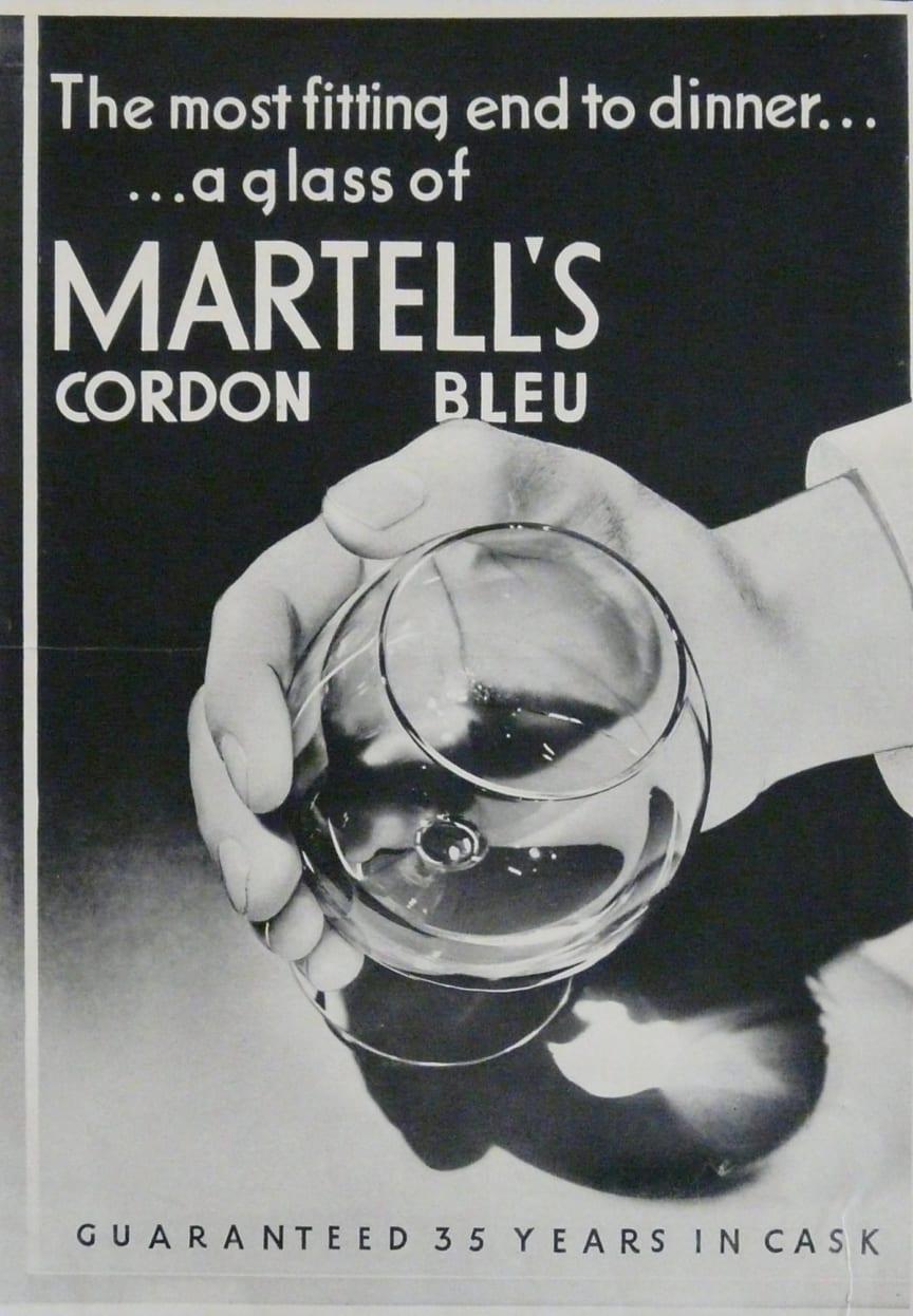 Martell Cordon Bleu reklame fra 1930