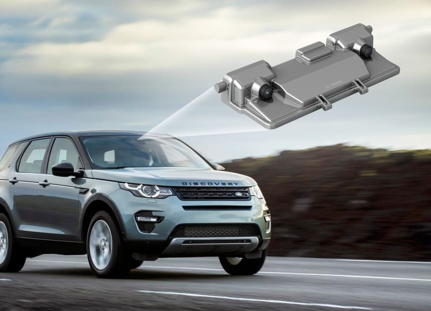 A Bosch developed stereo video camera enabling an emergency braking system.  Picture: Bosch