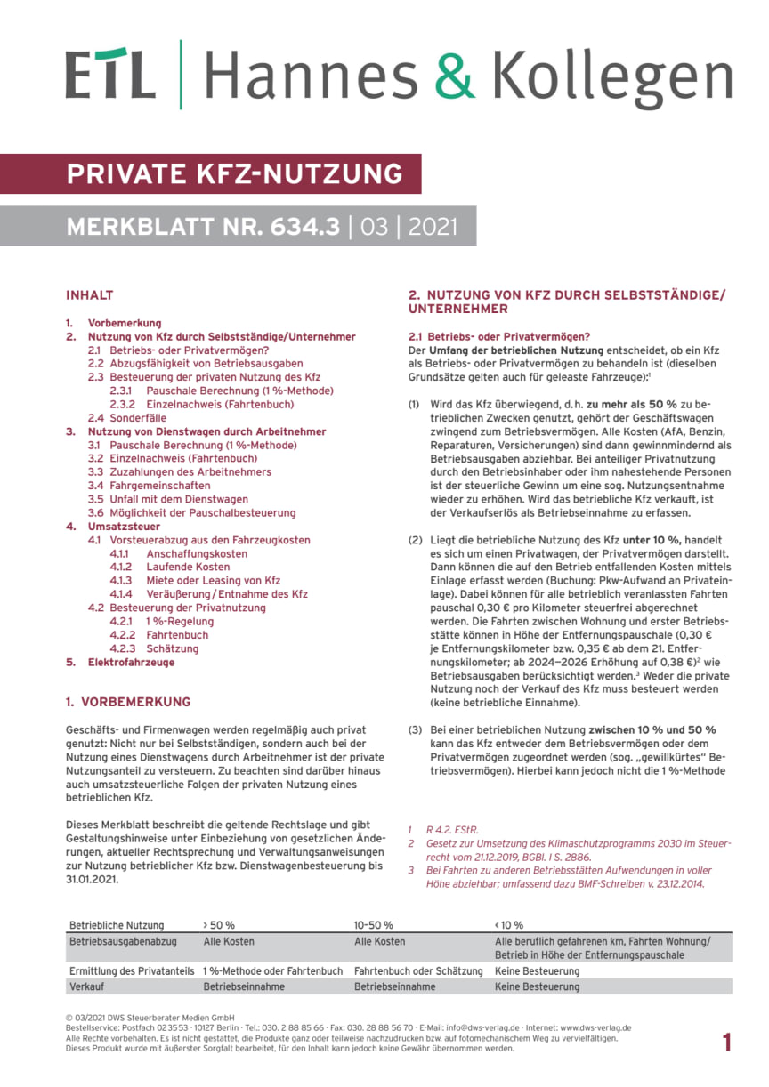 Merkblatt private KFZ-Nutzung im Steuerrecht
