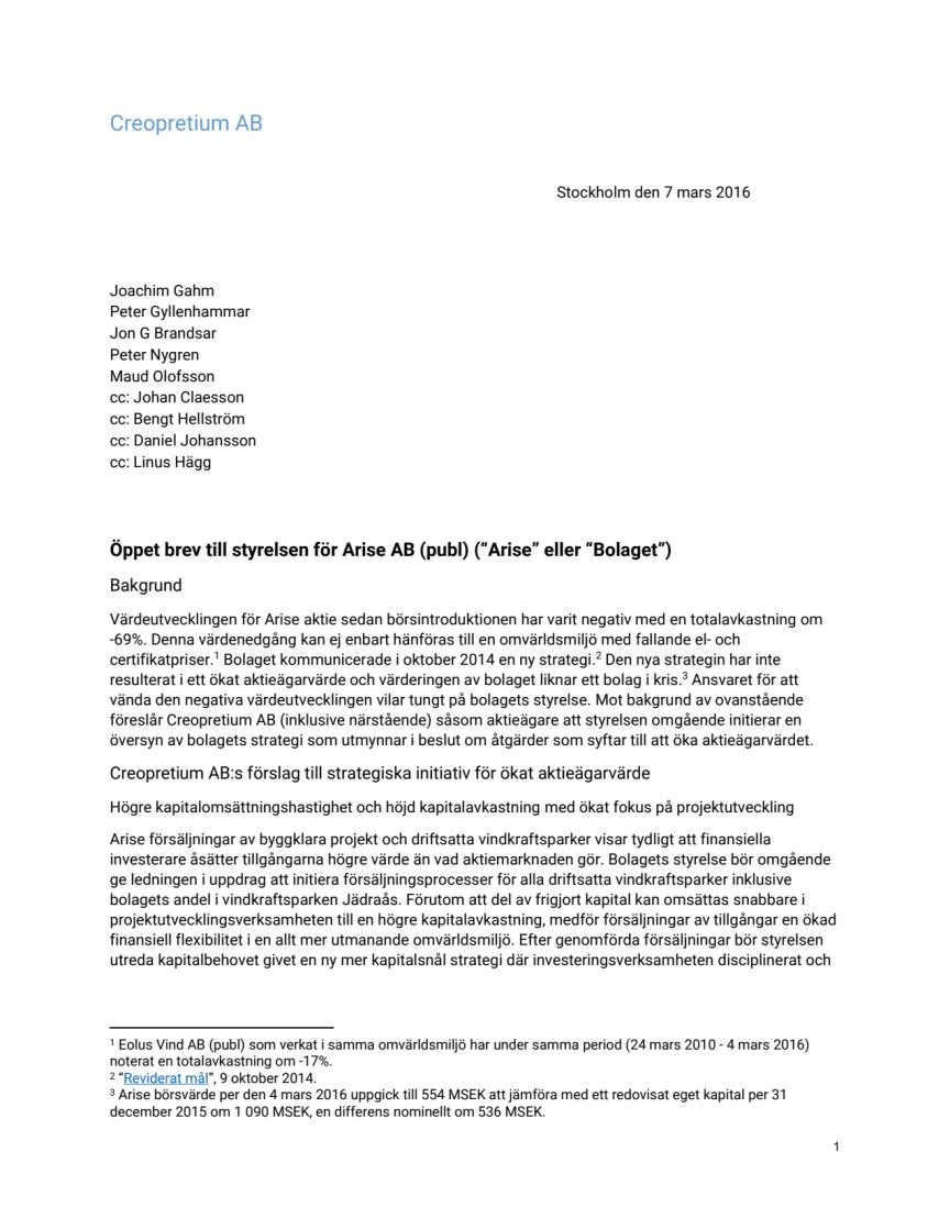 Öppet brev till styrelsen för Arise AB (publ)