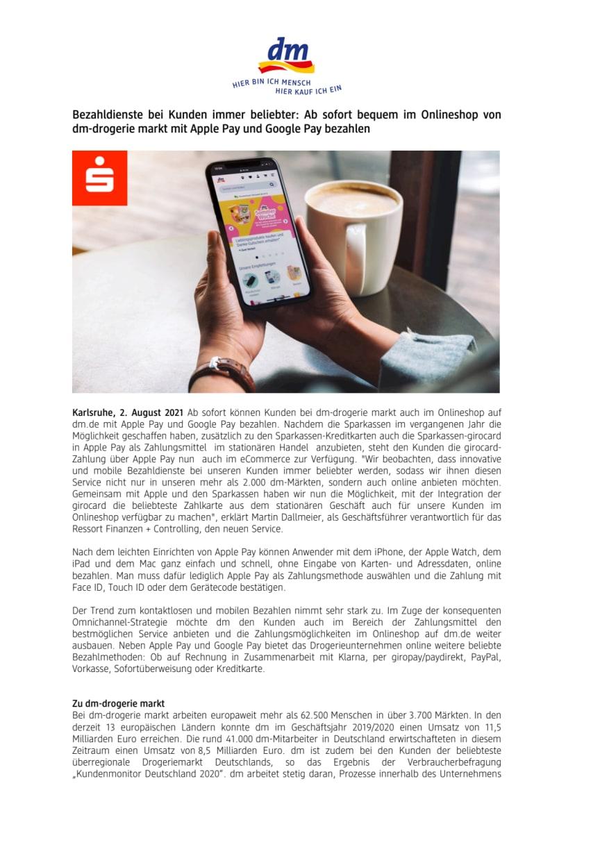 Bezahldienste bei Kunden immer beliebter: Ab sofort bequem im Onlineshop von dm mit Apple Pay und Google Pay bezahlen