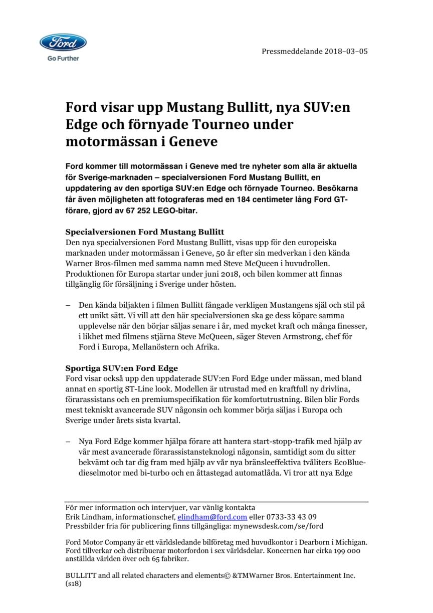 Ford visar upp Mustang Bullitt, nya SUV:en Edge och förnyade Tourneo under motormässan i Geneve