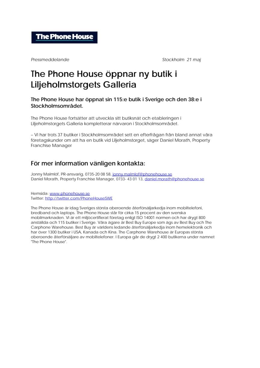The Phone House öppnar ny butik i Liljeholmstorgets Galleria