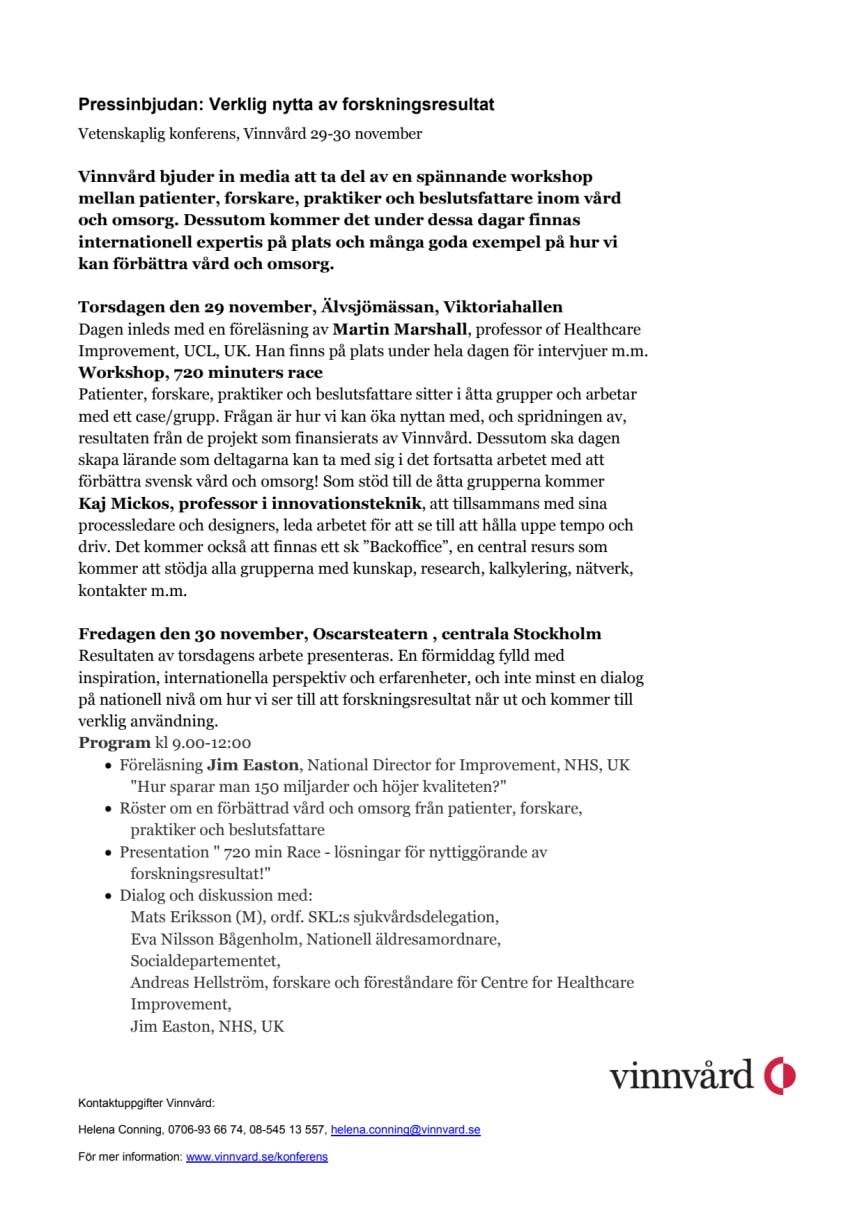 Pressinbjudan: Verklig nytta av forskningsresultat, Vetenskaplig konferens, Vinnvård 29-30 november