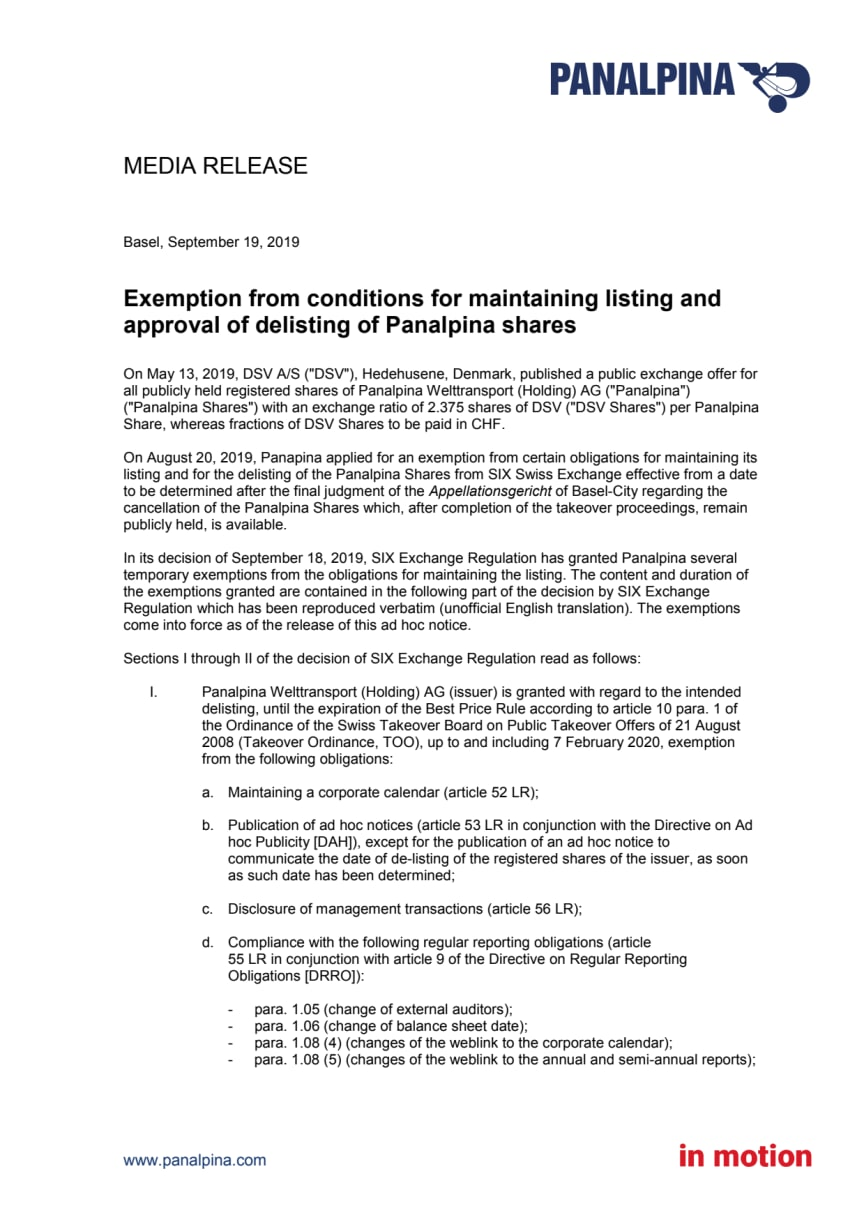 Exemption from conditions for maintaining listing and approval of delisting of Panalpina shares